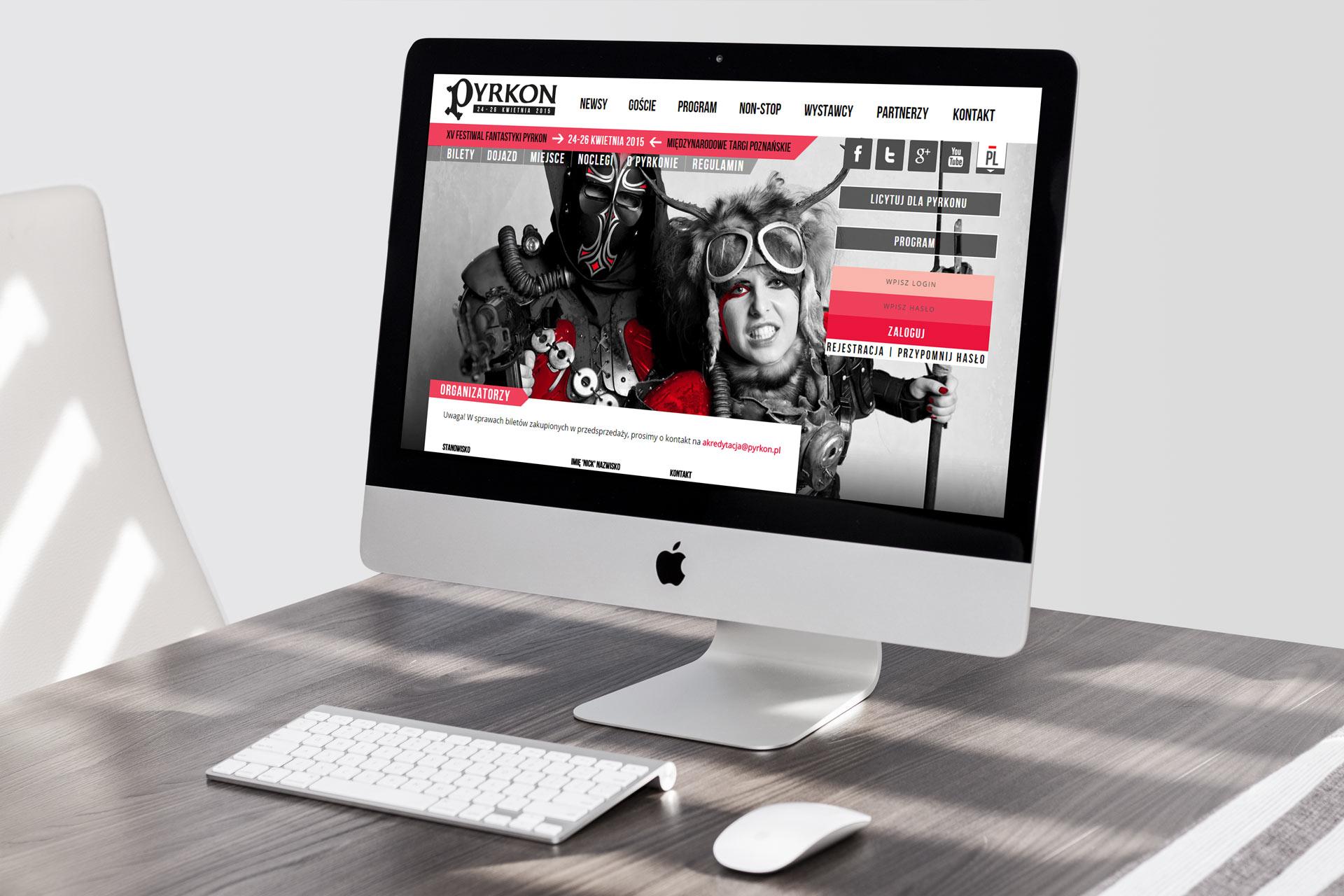 Webdesign strony internetowej festiwalu Pyrkon (do edycji 2015)