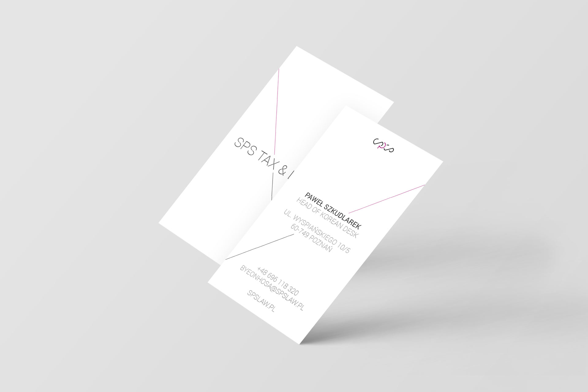 Projekt graficzny wizytówki SPS Tax&Law