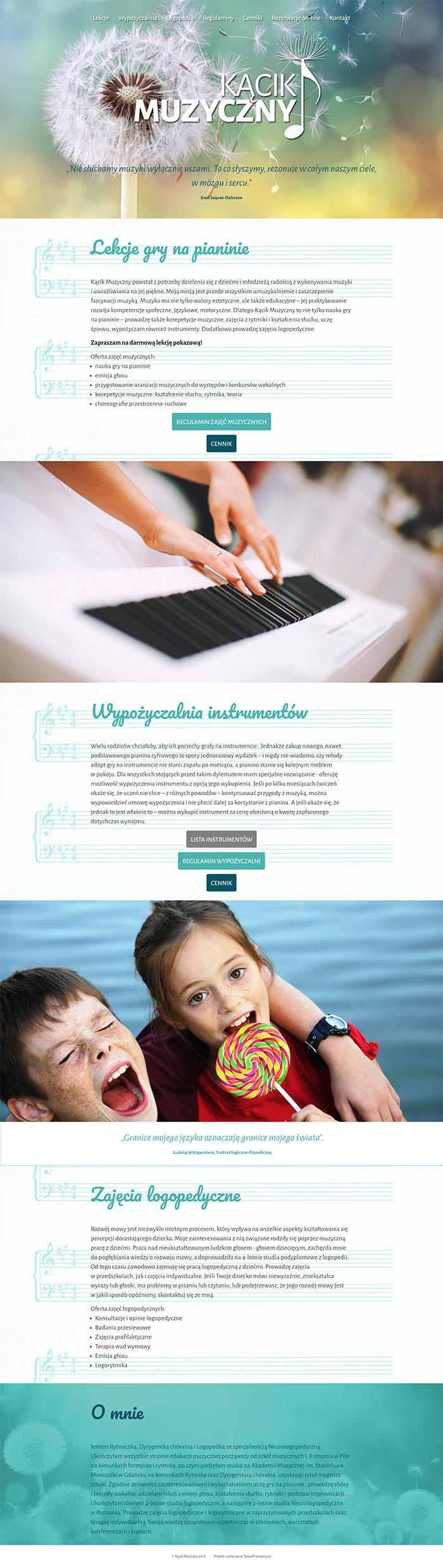Webdesign strony internetowej Kącik Muzyczny
