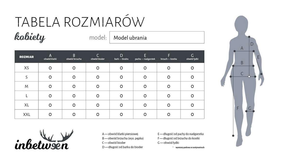 InBetween projekt graficzny karty rozmiarowej ubrań